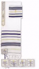 Tallit - Prayer Shawl - Dark Blue w/Eng Corners (72