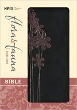 NIV Bible, Black / Pink Flower Italian Duo-Tone, Small Print