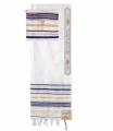 Tallit - Prayer shawl - Blue/white/Gold with bag